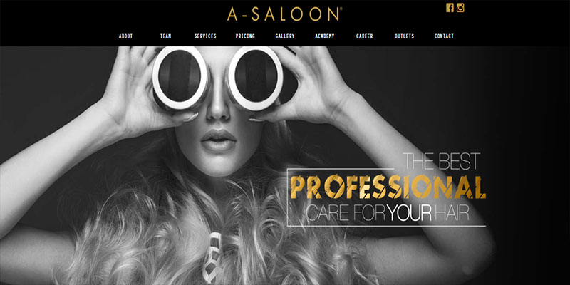 web design portfolio A-Saloon website