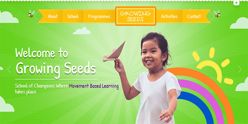 web design portfolio Growing Seeds website